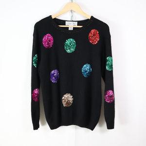 vintage sequin dot silk angora sweater size M/L